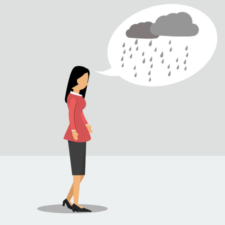 cloudy: Vector illustration. Walking woman in depression with a rainy thoughts