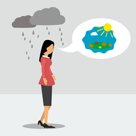 Vector illustration. Walking business woman in depression but thinking about good