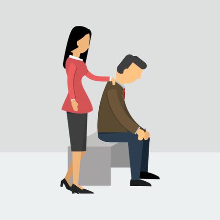 husband: Vector illustration. Women encourage her husband who is depressed. Flat style