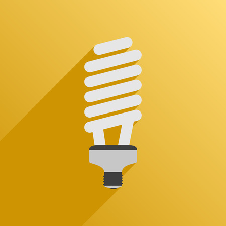 usual: Vector illustration. Flat style. Icon. Fluorescent energy saving bulb lamp for plants