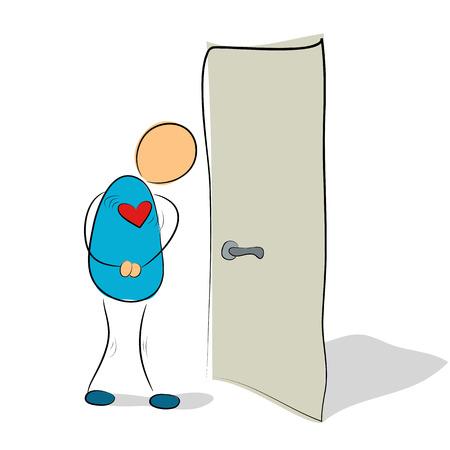 phobia: Vector illustration. Drawing. Social phobia - closed door