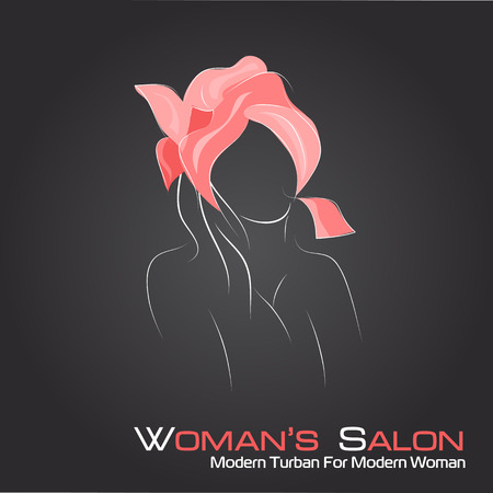 turban: Vector illustration. Drawing. Silhouette woman in a turban  on black background