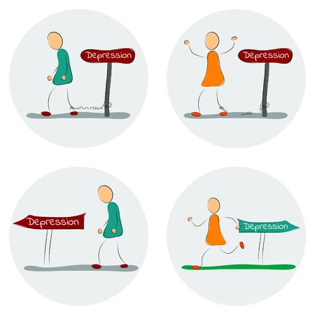 flee: Vector illustration. Drawing. Icon set man flee from depression