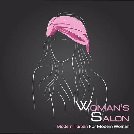 turban: Vector illustration. Drawing.  Woman look at side in pink turban on black