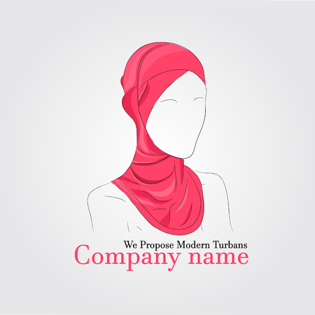 hijab: Vector illustration. Drawing. Silhouette woman in hijab with watercolor background  for logo company or advertising