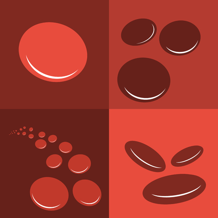 bloodcell: isolated macro of group erythrocytes corpuscles icon on red background