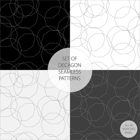 fine lines: Set of four vector patterns in monochrome decagon fine lines
