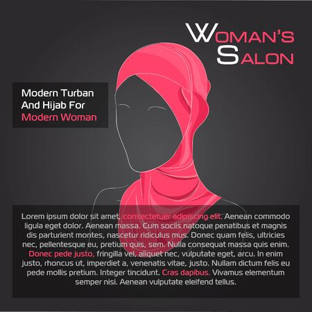 hijab: Vector illustration. Drawing.  Arabic woman in red hijab on black background advertising Illustration