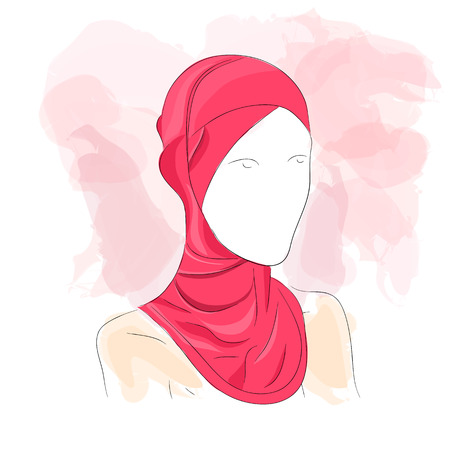Vector illustration. Drawing. Silhouette woman in hijab with watercolor background Ilustração