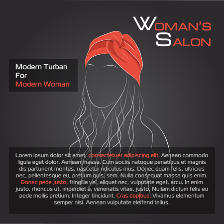 hair studio: Vector illustration. Drawing. Silhouette woman with hair in red turban with black background