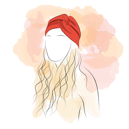 hair studio: Vector illustration. Drawing. Silhouette woman with hair in red turban with watercolor background Illustration