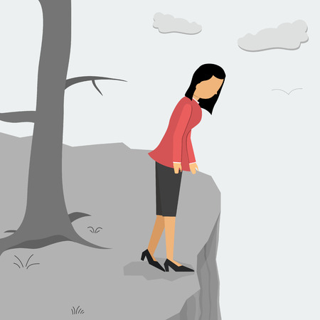 Vector illustration. Business depressed woman on a cliff looking down Illustration