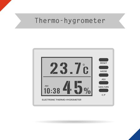 humidity: Vector digital thermometer hygrometer icon. Equipment for supplementary lighting plants Illustration
