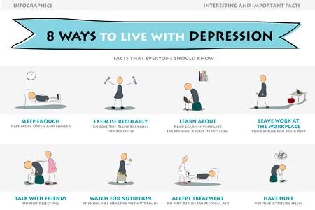 우울증 정보 그래픽의 그림입니다. 우울증과 함께 사는 8 가지 방법. 필기체 스타일