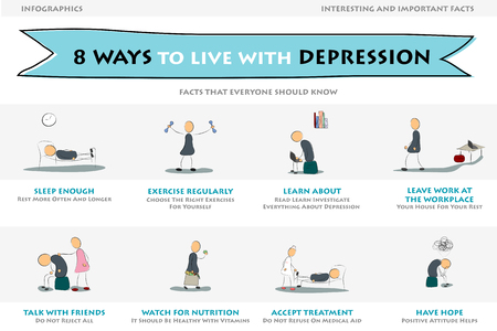 Illustration of depression info graphic. Eight ways to live with depression. Handwriting style