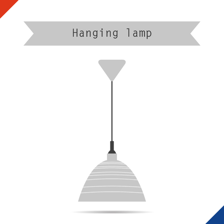 lamp shade: Vector flat illustration. Ceiling lamp with shade for phyto light
