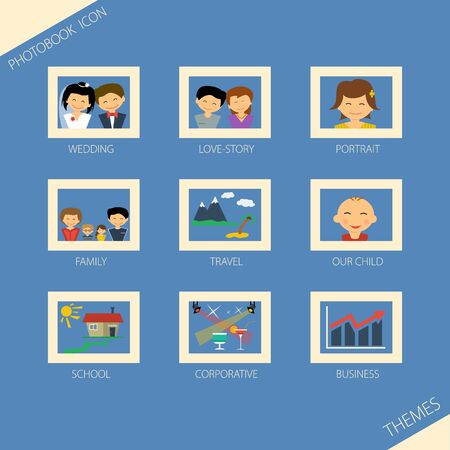 printing house: Vector illustration. Set of different theme of photobook. Nine icons