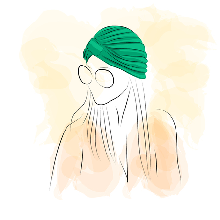 swabs: Vector illustration. Drawing.  Silhouette of a woman with glasses in green turban on watercolor background