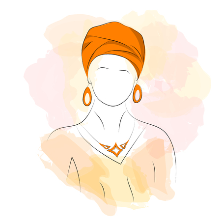turban: Vector illustration. Drawing. Silhouette woman in orange turban with watercolor background