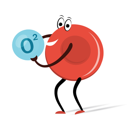 cells biology: Red Blood Cell with Oxygen Cartoon