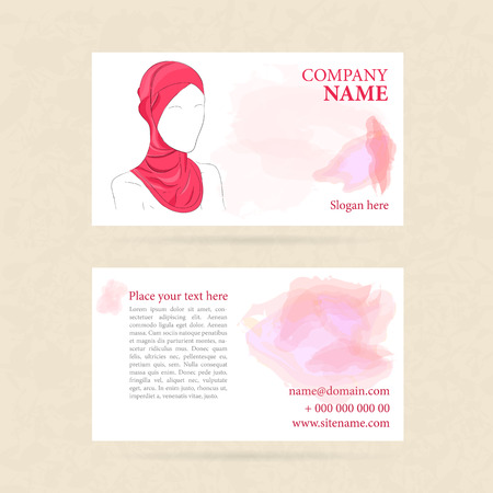 hijab: illustration of Business card with woman in turban or hijab. Watercolor on background. Template for both sides Illustration