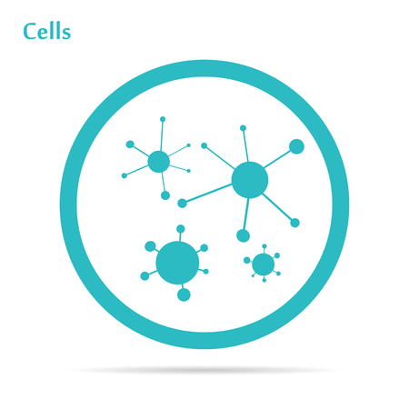 Flat icon blood cells in round frame Stock Vector - 49074618