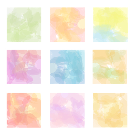 pastel backgrounds: Set of nine pastel watercolor backgrounds in squares.