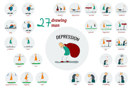 bagful: illustration. Drawing. Big Icon set man and family in depression who are fighting for their emotional state Illustration