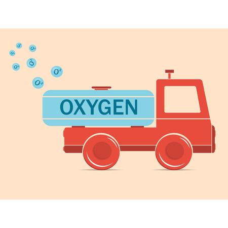 erythrocyte: illustration. Drawing. Cartoon truck erythrocyte carries oxygen Illustration