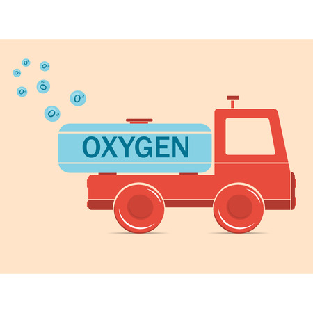 illustration. Drawing. Cartoon truck erythrocyte carries oxygen Illustration