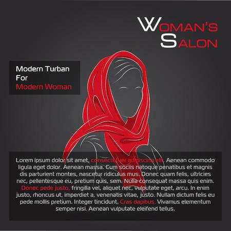 femme dessin: illustration. Dessin. femme arabe en turban orange sur fond noir
