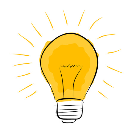 light bulb hand drawn doodle with yellow glowing rays
