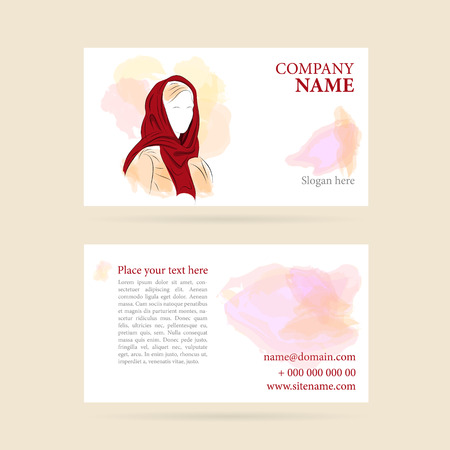 headscarf: illustration of Business card with woman in a headscarf or turban