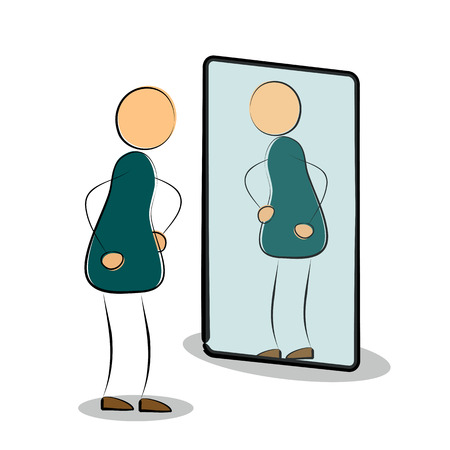 looks: illustration. Isolated drawing on white background.  Man silhouette looks in own reflection in the mirror Illustration