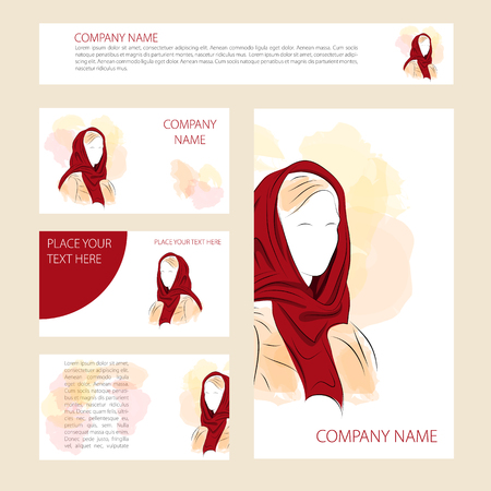 swabs: illustration. Template five cards and banners with woman in a headscarf for web and print