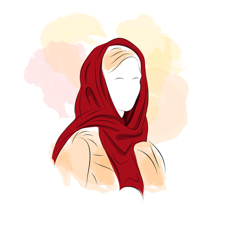 turban: illustration. Drawing. Silhouette woman in dark red turban with watercolor background