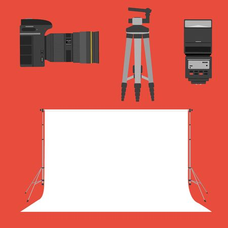 tripod: set icons photographic equipment. camera flash tripod and photo background