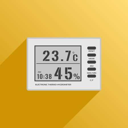 supplementary: Vector digital thermometer hygrometer icon. Equipment for supplementary lighting plants on a yellow background with shadow Illustration
