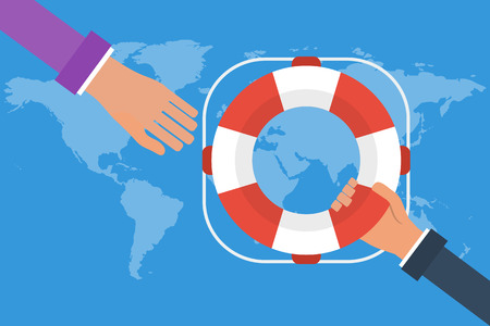 business survival: Businessman hand getting lifebuoy from another businessman on world map background. Business concept  help, support, survival. Vector colorful illustration in flat style Illustration