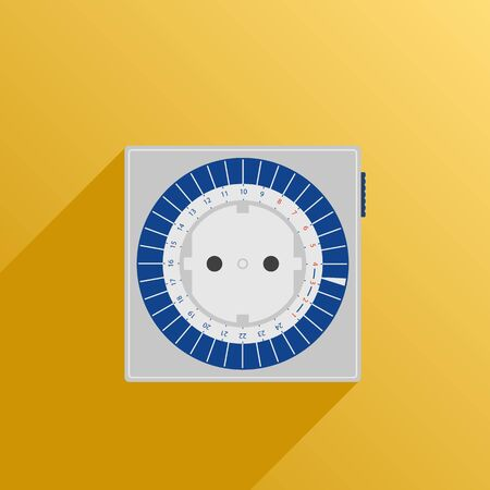 enchufe de luz: Ilustración del vector. estilo plano. Icono. Socket diaria temporizador de luz fito sobre un fondo amarillo con la sombra