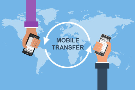 functionality: Flat design vector concept of mobile banking. Two hands with mobile on a background map of the world. Transferring Money and payment