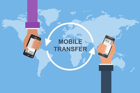 Platte ontwerp vector concept van de mobiel bankieren. Twee handen met mobiel op een achtergrond kaart van de wereld. Overbrengen van het geld en de betaling Vector Illustratie