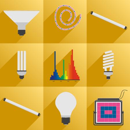 led light bulb: Vector illustration. Flat style. Set icon LED equipment phyto light for plants