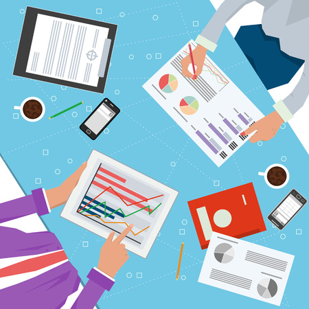 Vector concept of working process. Top view of desk with two workers hands, tablet, documents, phone, cup, pencil and different office elements for business team. Flat style