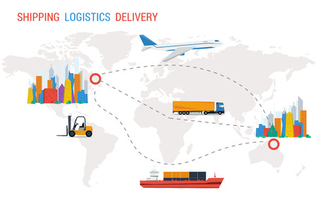 top of the world: Logistics vector illustration concept. Two different cities and routes between them on world map with transportation by plane, truck, maritime. Flat style. Sign on top shipping logistics delivery