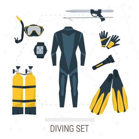 Wektorowe ikony zestaw nurkowania. Sprzęt do nurkowania akwalungiem, butli z tlenem, głębokościomierz, latarka, rurką i płetwami, maski, rękawice, speargun. Płaski stylu. Samodzielnie na białym tle dla projektu