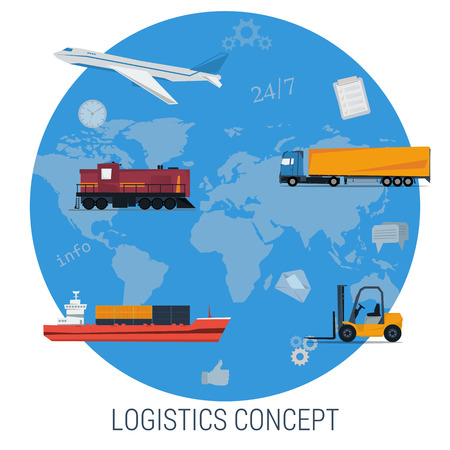 railway transportation: Vector concept of logistics global transportation. Aircraft, truck, cargo ship, forklift, railway transport on world map background in circle. Flat style