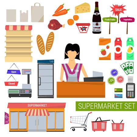 saleslady: Vector set supermarket icons. Saleslady, store shelves, food items, cart, basket, equipment store, payment systems. Flat style. Isolated on white background for your design Illustration