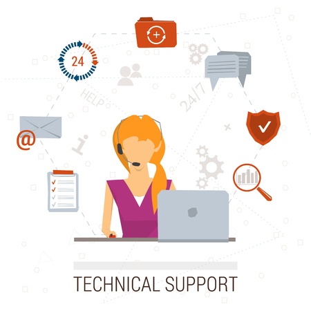 call center female: Vector concept of technical support or call center. Female operator and customer service, symbols. Flat style. Isolated on white background for your design Illustration