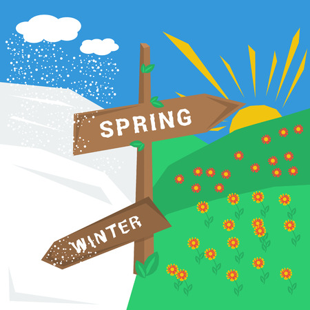 turns of the year: Vector concept springtime. Wooden sign with an indication of the spring and winter. And accordingly cold and warm weather, snow storm, sun, flowers, leaves. Flat style Illustration